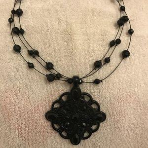 Lia Sophia black medallion necklace